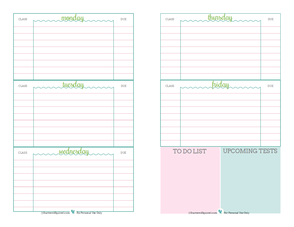 Student Planner Printables Scattered Squirrel – Student Agenda Template