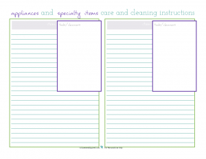 Printable for keeping track of appliance and specialty items cleaning and care instructions for the cleaning section of the kitchen binder. From ScatteredSquirrel.com