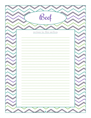 Beef section divider for kitchen binder recipes section, inlcuding space to make a list of what recipes are in that section. From ScatteredSquirrel.com