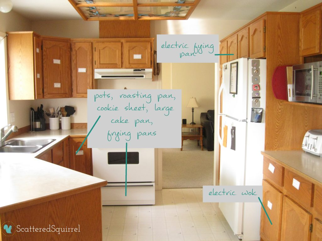 how our cooking zone was all over our kitchen before the reorganization: ScatteredSquirrel.com