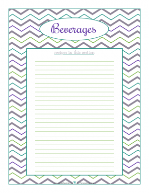 Beverages section divider for kitchen binder recipes section, inlcuding space to make a list of what recipes are in that section. From ScatteredSquirrel.com