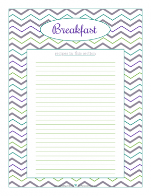 Breakfast section divider for kitchen binder recipes section, inlcuding space to make a list of what recipes are in that section. From ScatteredSquirrel.com