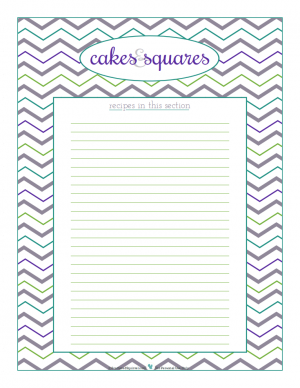Cakes and Squares section divider for kitchen binder recipes section, inlcuding space to make a list of what recipes are in that section. From ScatteredSquirrel.com