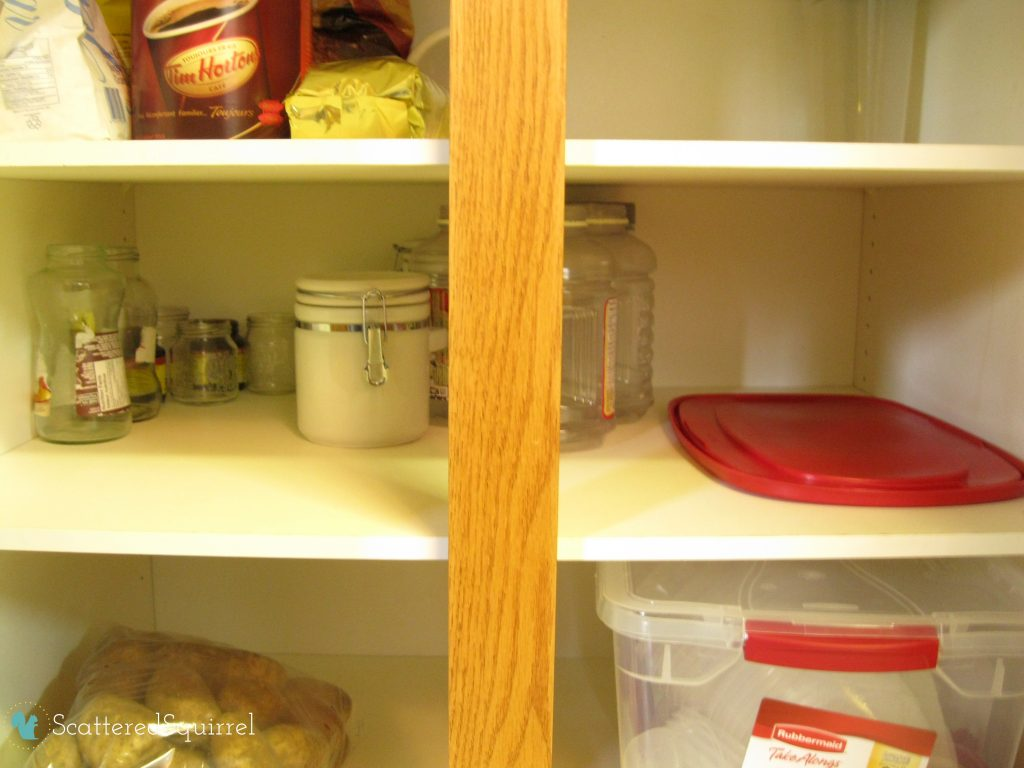 Container storage in the pantry | scatteredsquirrel.com