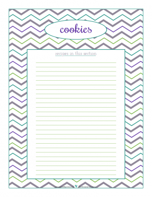 cookies section divider for kitchen binder recipes section, inlcuding space to make a list of what recipes are in that section. From ScatteredSquirrel.com