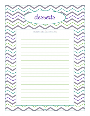 Desserts section divider for kitchen binder recipes section, inlcuding space to make a list of what recipes are in that section. From ScatteredSquirrel.com