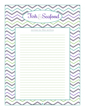 Fish and Seafood section divider for kitchen binder recipes section, inlcuding space to make a list of what recipes are in that section. From ScatteredSquirrel.com