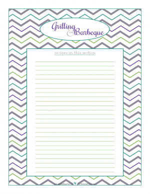 Grilling and Barbeque section divider for kitchen binder recipes section, inlcuding space to make a list of what recipes are in that section. From ScatteredSquirrel.com