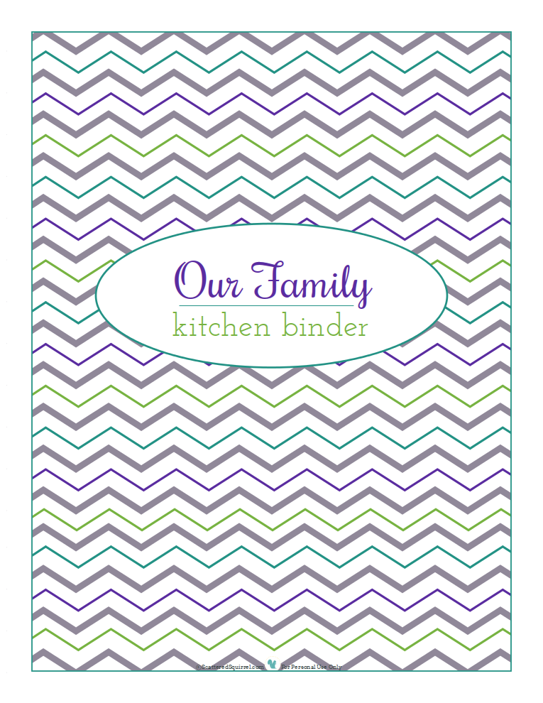 Cover page for kitchen binder, chevron background. Free printable from ScatteredSquirrel.com