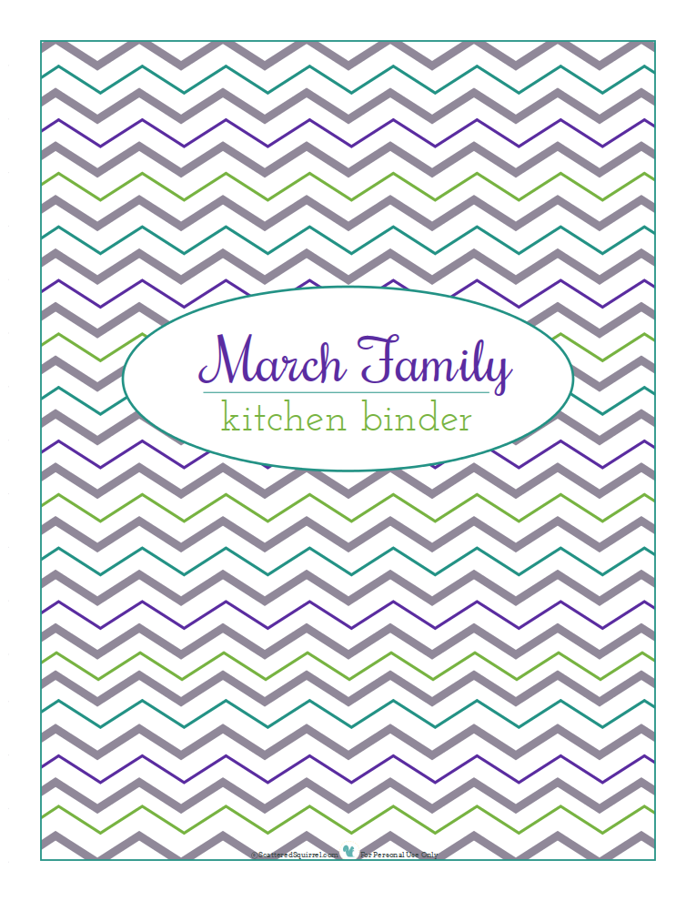 Cover page for kitchen binder, chevron background. Free personalization until October 31st, 2013  from ScatteredSquirrel.com