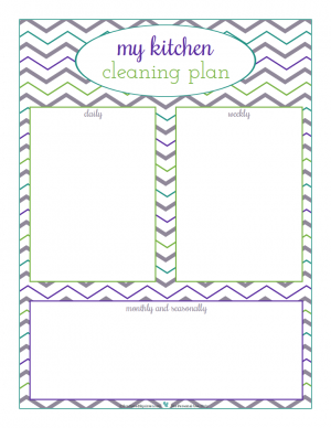 kitchen cleaning plan printable with spaces for daily, weekly, and monthly and seasonal tasks: ScatteredSquirrel.com