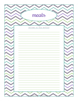 Meats section divider for kitchen binder recipes section, inlcuding space to make a list of what recipes are in that section. From ScatteredSquirrel.com