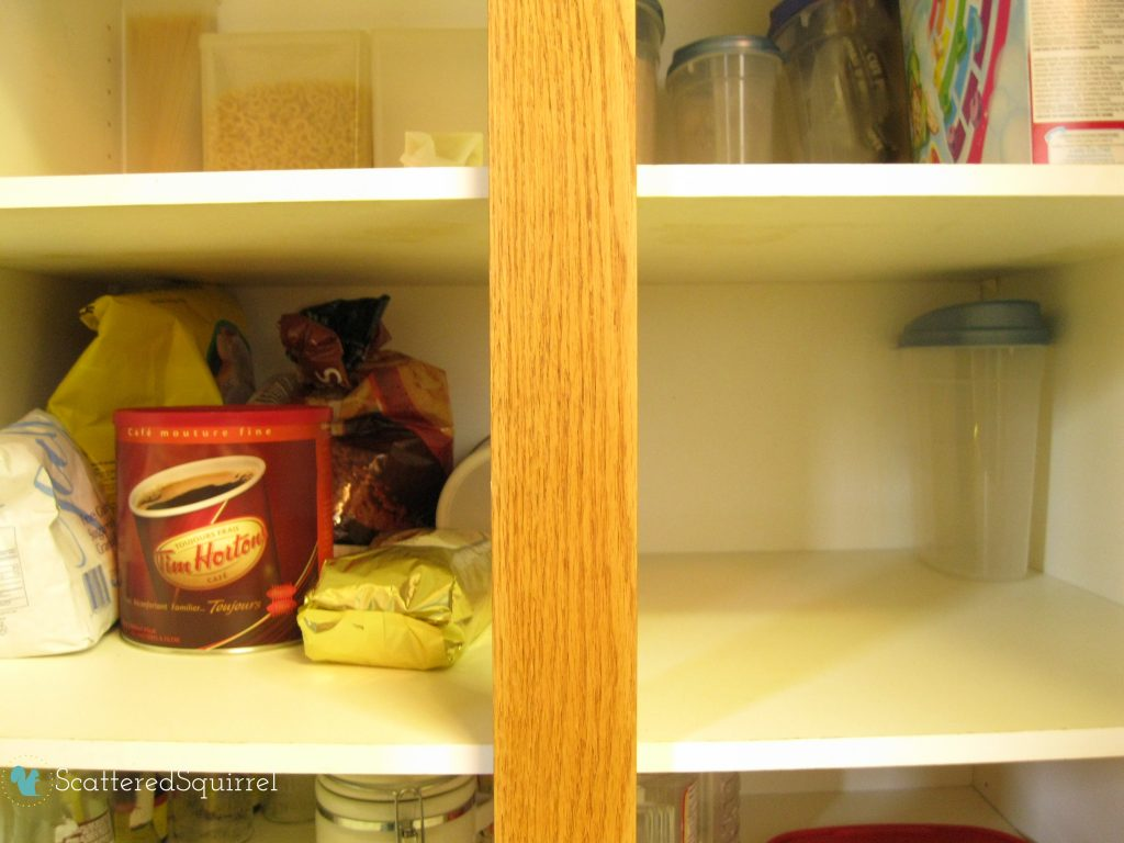 Make room in the pantry for overflow items so you can purchase in bulk. ScatteredSquirrel.com