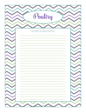 Poutlry section divider for kitchen binder recipes section, inlcuding space to make a list of what recipes are in that section. From ScatteredSquirrel.com