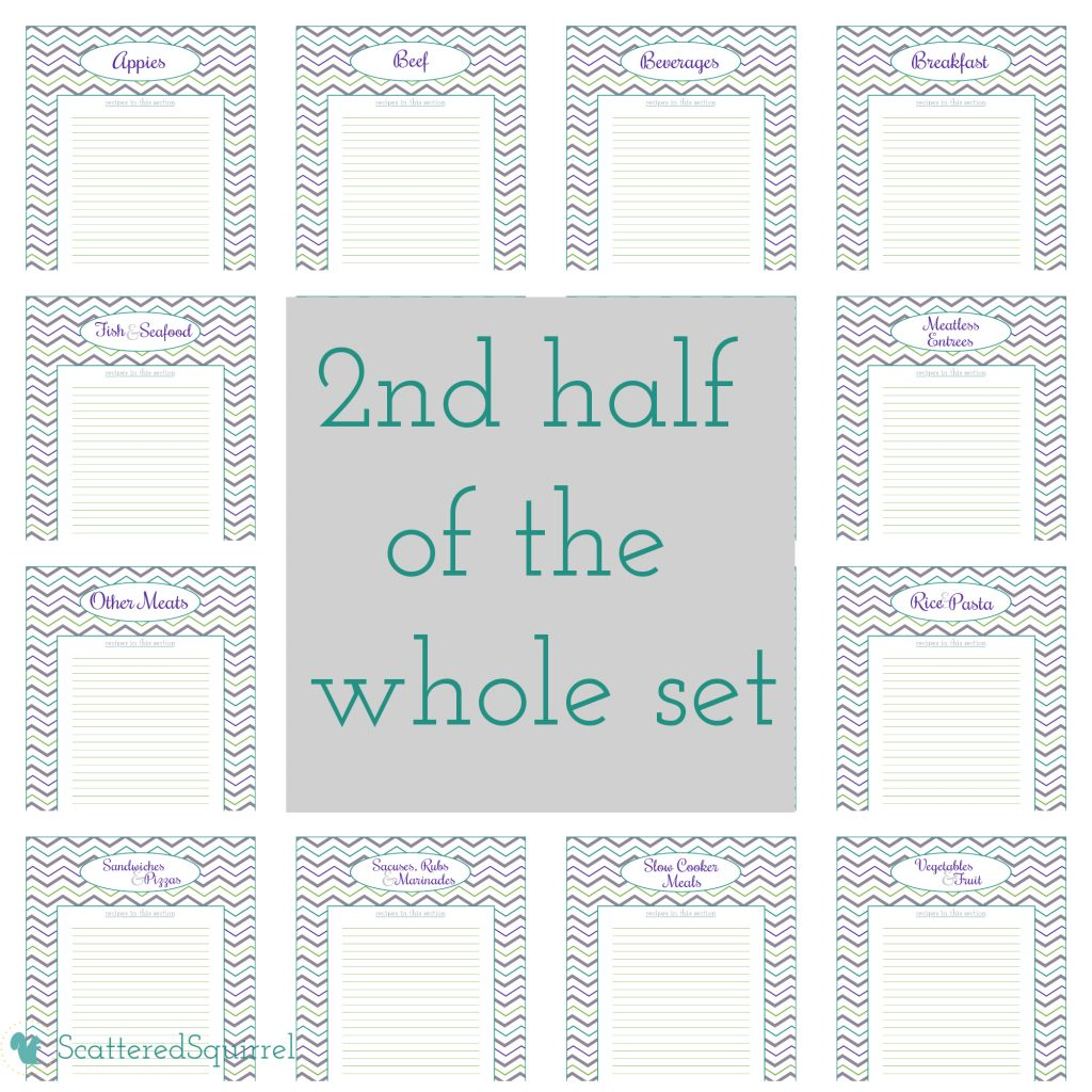 Printable recipe section dividers for kitchen binder. From ScatteredSquirrel.com