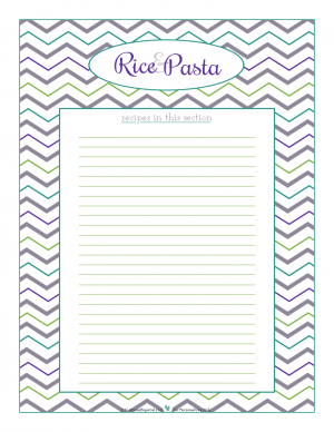 Roce and Pasta section divider for kitchen binder recipes section, inlcuding space to make a list of what recipes are in that section. From ScatteredSquirrel.com