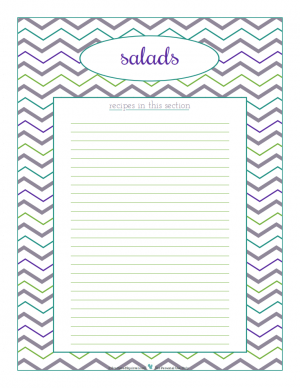 Salads section divider for kitchen binder recipes section, inlcuding space to make a list of what recipes are in that section. From ScatteredSquirrel.com