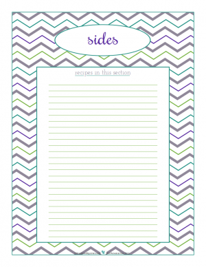 Sides section divider for kitchen binder recipes section, inlcuding space to make a list of what recipes are in that section. From ScatteredSquirrel.com
