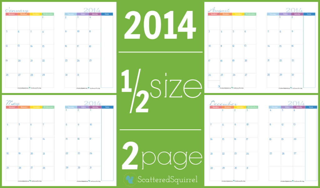 Half Page Monthly Calendar : Calendars part scattered squirrel