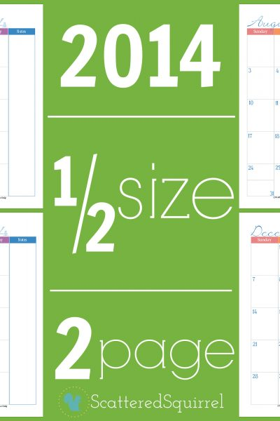 2014 Calendar, half size two page monthly. | ScatteredSquirrel.com