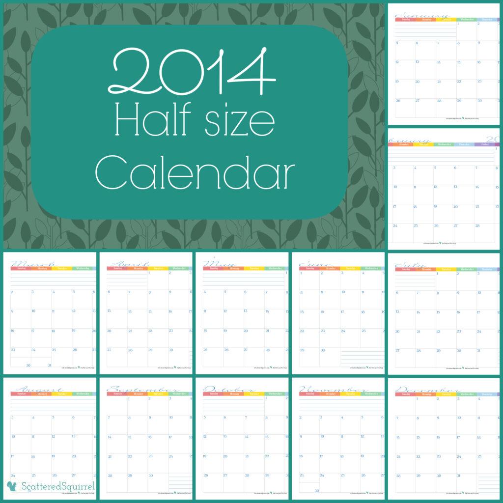 half size monthly calendar for 2014 | ScatteredSquirrel.com