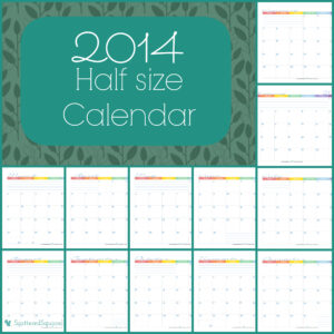 half size monthly calendar for 2014 | ScatteredSquirrel.com