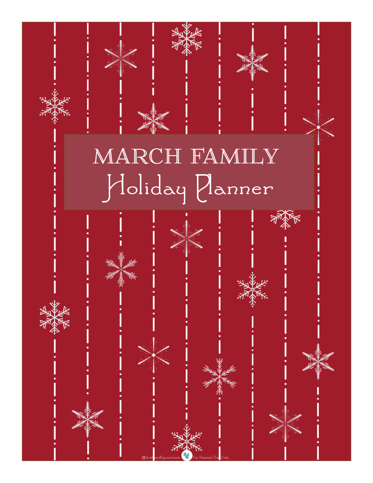 cranberry holiday planner cover page scattered squirrel