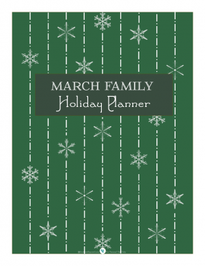 Holiday planner cover page, in evergreen | ScatteredSquirrel.com
