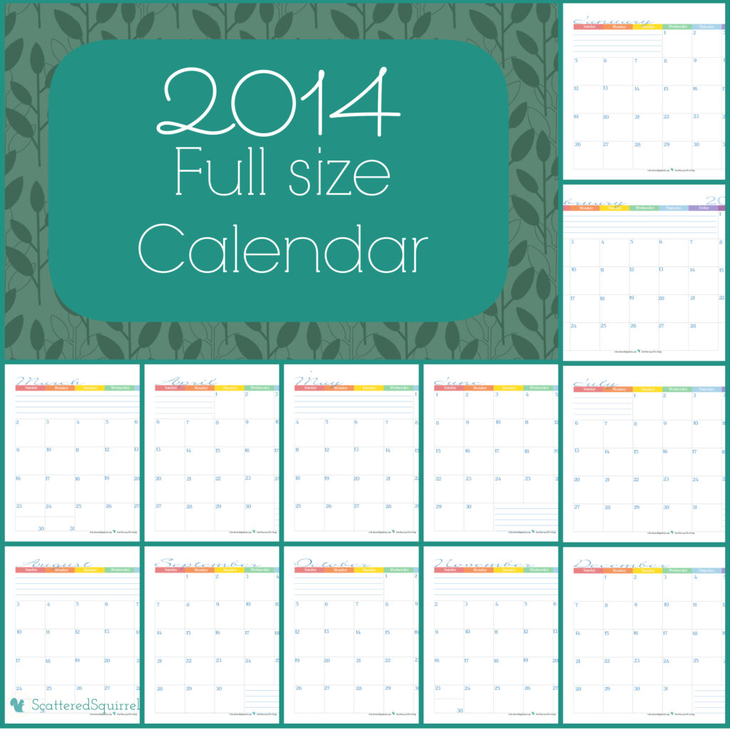 2014 Calendars Half Size Edition - Scattered Squirrel