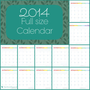2014 Calendar, full size one page per month.   ScatteredSquirrel.com