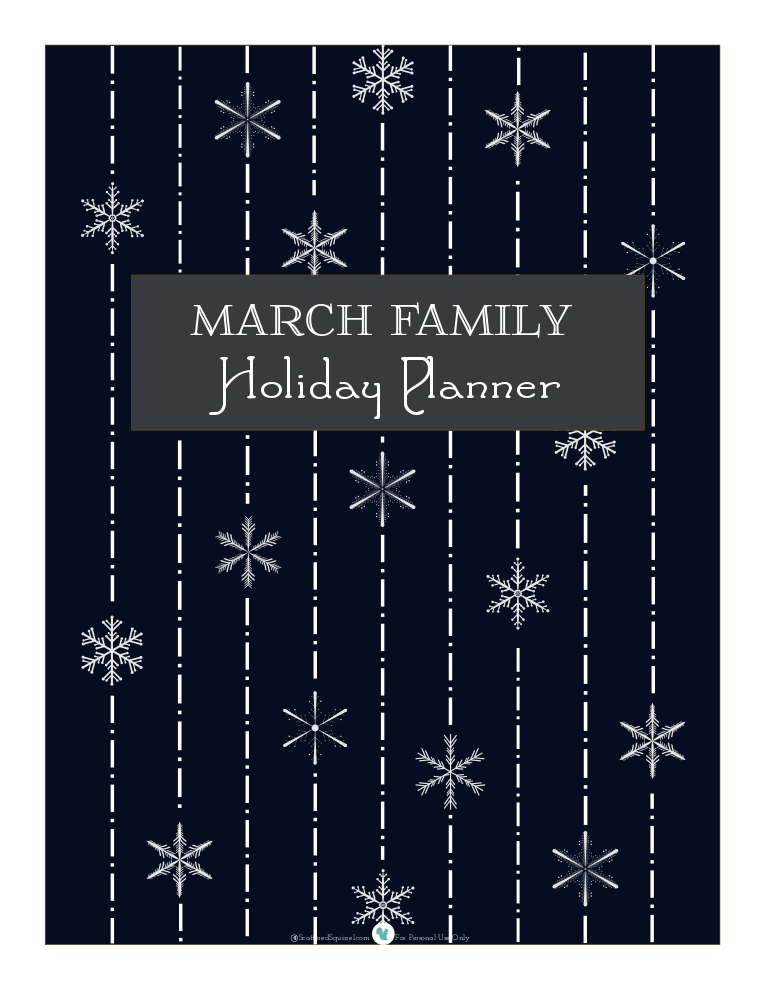 Holiday planner cover page, in midnight | ScatteredSquirrel.com