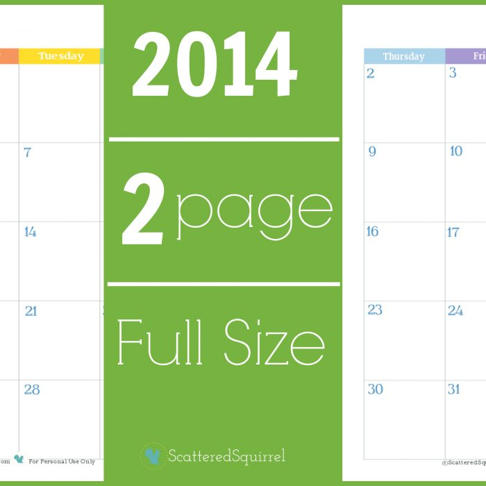 2014 Calendar: Two Page Monthly