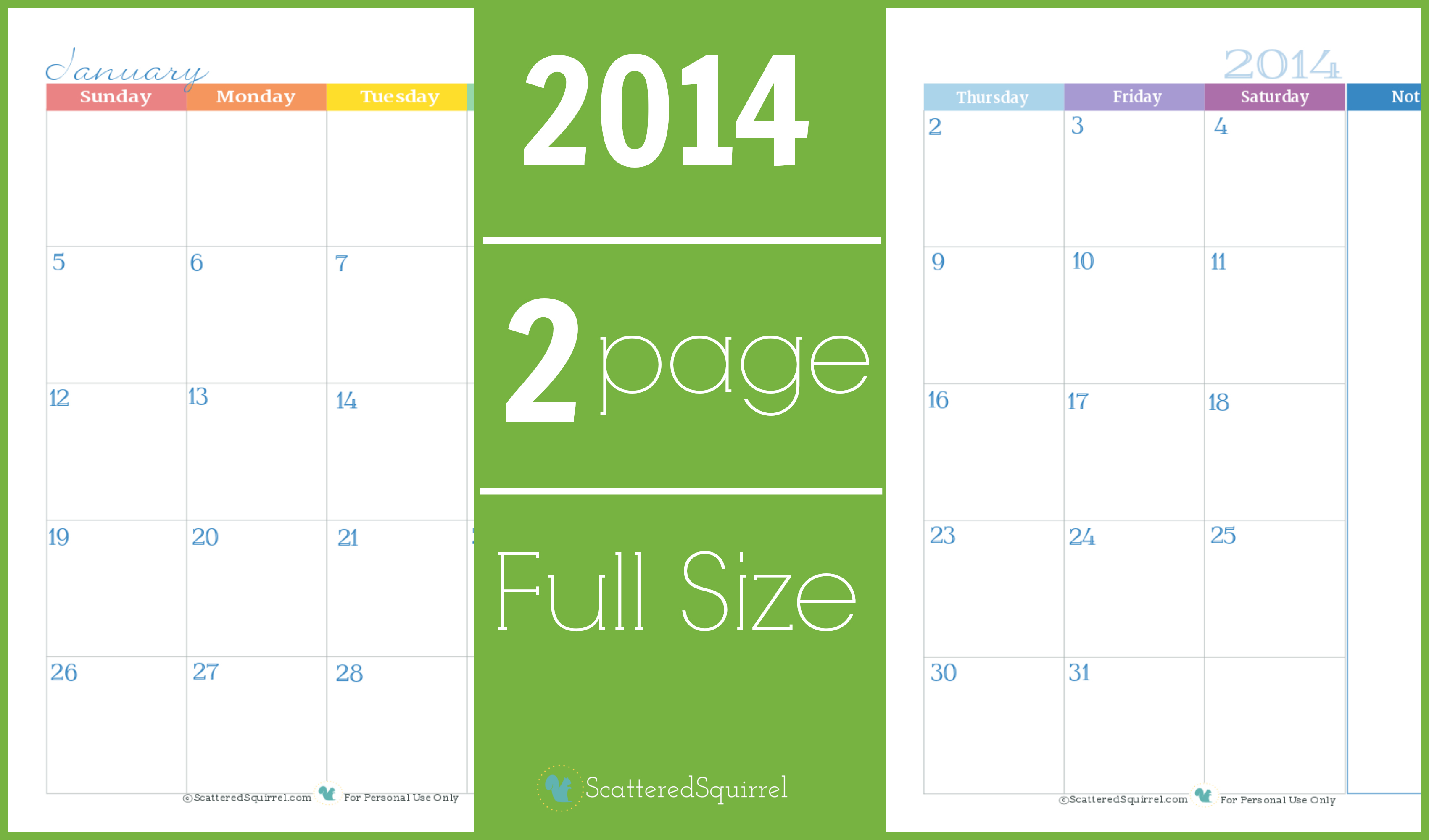 Calendar Ideas Per Month : Calendar two page monthly scattered squirrel
