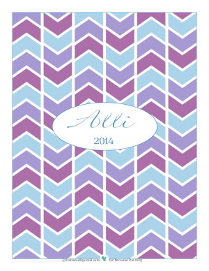 Printable of the Month for December 2013, Planner cover in blues and purples with name | ScatteredSquirrel.com