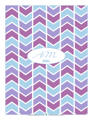 Printable of the Month for December 2013, Planner cover in blues and purples with initials | ScatteredSquirrel.com