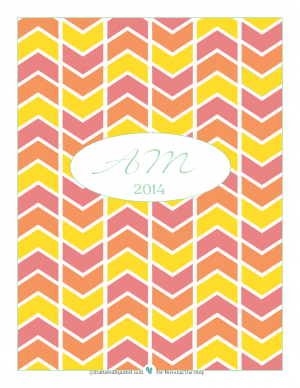 Printable of the Month for December 2013, Planner cover in pink, peach and yellow with initials | ScatteredSquirrel.com
