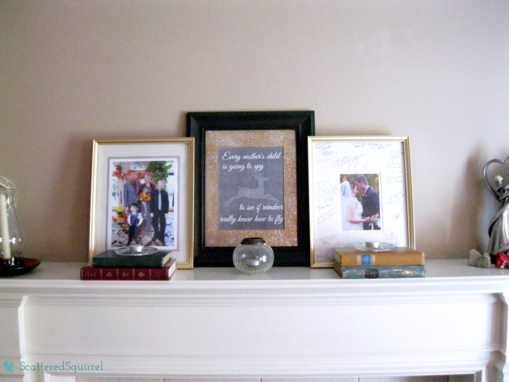 The beginning of our mantel, with the printable quote taking center stage. |ScatteredSquirrel.com