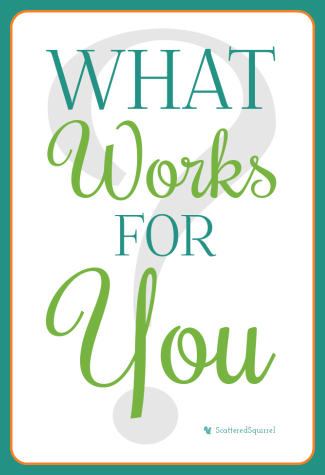 What Works for You blog series | ScatteredSquirrel.com