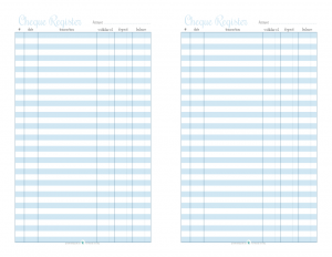 free printable half size cheque register in blue | ScatteredSquirrel.com