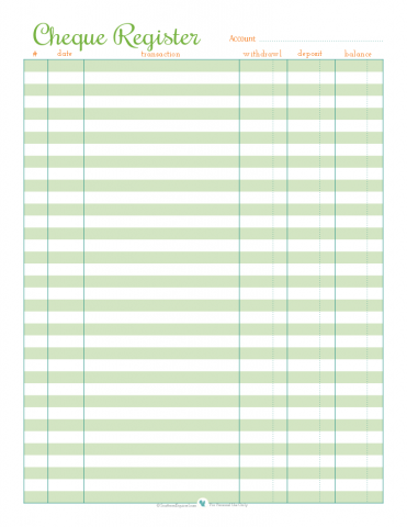 Free printable cheque register | ScatteredSquirrel.com