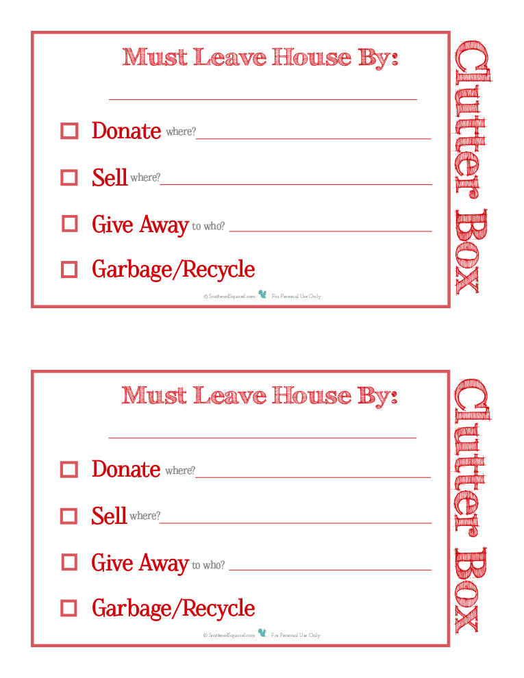 Labels for clutter boxes to help you get rid of clutter. |ScatteredSquirrel.com