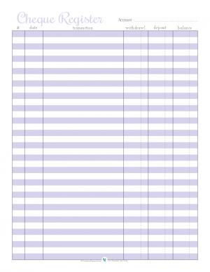 free printable cheque register in purple | ScatteredSquirrel.com