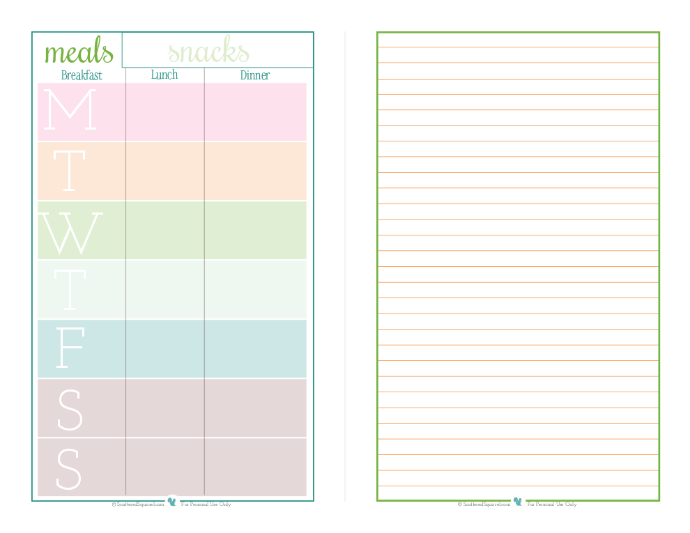 Free printable half size meal planner with space for notes or list. | ScatteredSquirrel.com