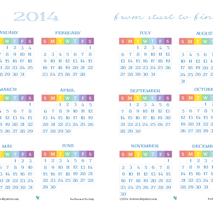 Half-Size, Full Year 2014 Calendar Printable
