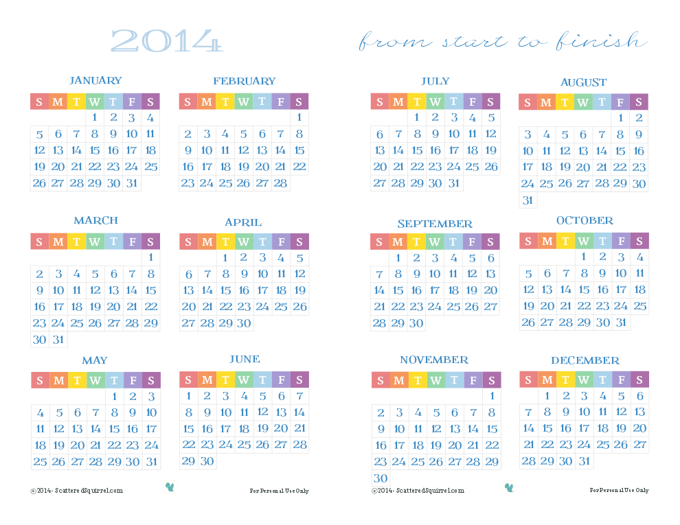 Free printable 2014 Calendar, in half size. | ScatteredSquirrel.com