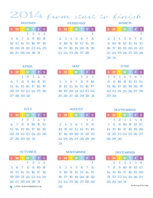 2014 Calendar, all 12 months on one page. |ScatteredSquirrel.com