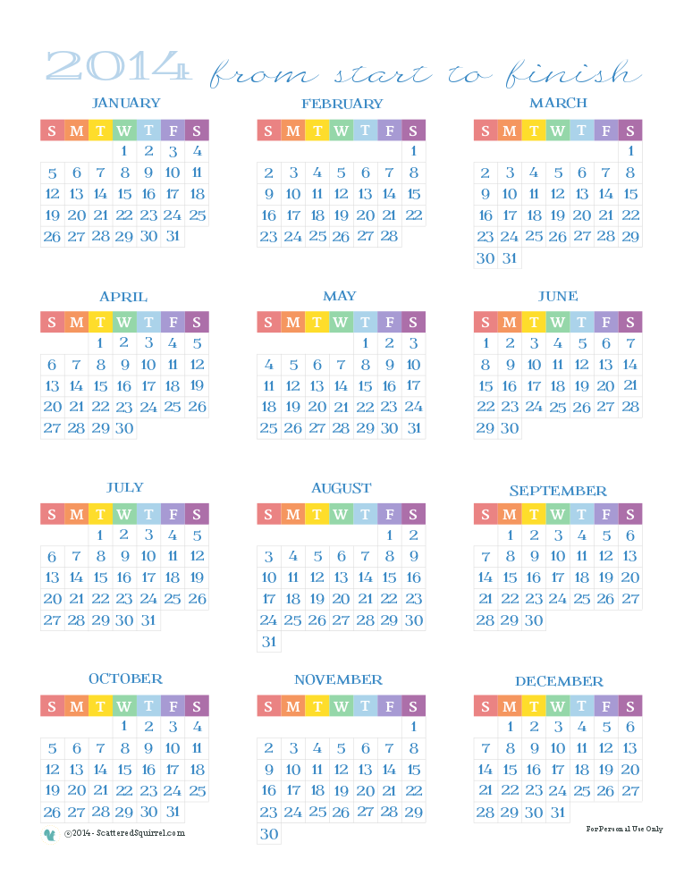 2014 Calendar, all 12 months on one page.  ScatteredSquirrel.com
