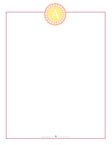 Printable personalized note paper with initial   ScatteredSquirrel.com