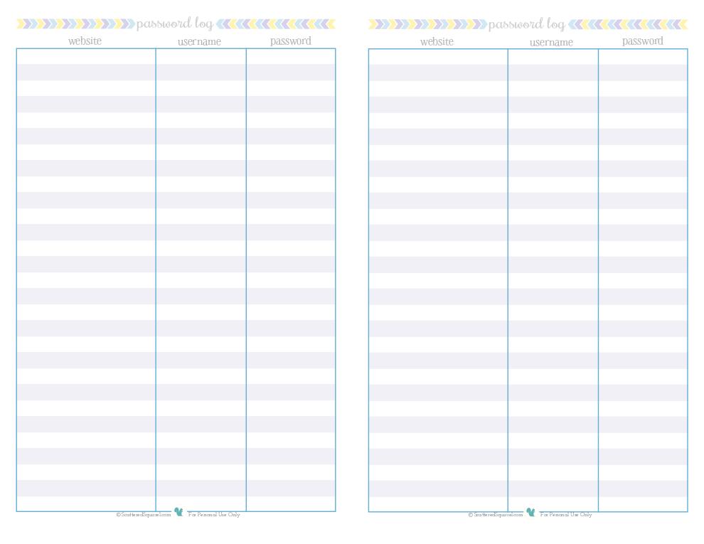 free printable password log, designed for half size binders | ScatteredSquirrel.com
