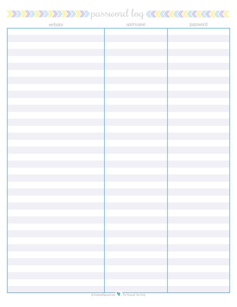 free printable password log, | ScatteredSquirrel.com